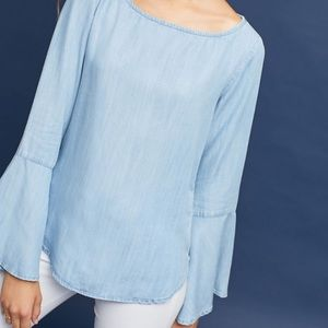Anthro Cloth & Stone Chambray Bell-Sleeved Top XS